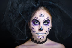 La Calavera de la Catrina. Day of the Dead, Skull Mask. Art woman beautiful face painted as a traditional day of the dead, spider net on head. Free place on Royalty Free Stock Photography