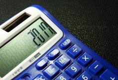 La calculadora azul vieja y sucia del color Fotografía de archivo