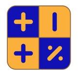 La calculadora azul-y-amarilla Fotografía de archivo libre de regalías