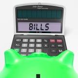 La calculadora de las cuentas muestra las facturas pagaderas y las estadísticas libre illustration
