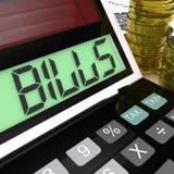 La calculadora de las cuentas significa las facturas pagaderas y que deben ilustración del vector