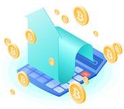 La calculadora de la matemáticas, flecha creciente, lluvia del oro de los bitcoins Fotografía de archivo