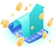 La calculadora del contable, flecha cada vez mayor, dólares de lluvia del oro Imágenes de archivo libres de regalías
