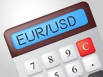 La calculadora del EUR Usd indica el intercambio Rate And American libre illustration