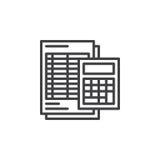 La calculadora y la hoja alinean el icono, muestra del vector del esquema, pictograma linear aislado en blanco Fotografía de archivo libre de regalías