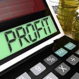 La calculatrice de bénéfice montre les revenus en surplus et retourne illustration libre de droits