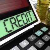 La calculatrice de crédit montre l'emprunt ou le prêt de financement illustration de vecteur