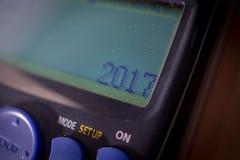 La calculatrice de Digital écrivent 2017 nouvelles années Photographie stock libre de droits