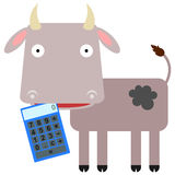 La calculatrice de la vache Images libres de droits