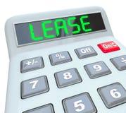 La calculatrice de Word de bail comparent des achats contre la meilleure affaire de location Images stock