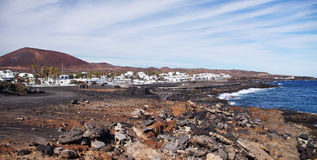 La Caldera and Cocoteros, Lanzarote, Canary Island Stock Photo