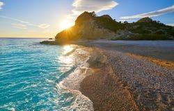 La Caleta beach playa in Villajoyosa of Alicante stock images