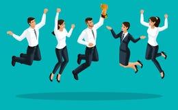 La calidad Isometry, señoras del negocio 3d y hombres de negocios es feliz y saltando, el premio es recibido por el equipo unido  libre illustration