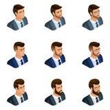 La calidad Isometry, un sistema de los hombres de negocios del avatar 3d de diversas imágenes, con emociones, con una barba y los ilustración del vector