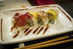 La California rotola al ristorante giapponese Fotografia Stock