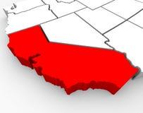 La Californie assouvissent la carte - l'illustration 3d Images stock