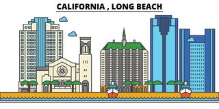 La Californie, Long Beach Architecture d'horizon de ville Photos libres de droits