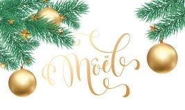 La caligrafía de oro de moda y el abeto de la cita de Joyeux Noel French Merry Christmas ramifican en el fondo blanco de la nieve stock de ilustración