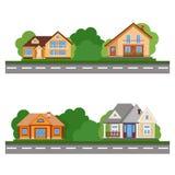 La calle de casas hermosas Casa residencial plana colorida determinada Fotos de archivo