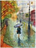 La calle de la ciudad de la lluvia contiene la acuarela del paisaje del otoño del parque del árbol ilustración del vector