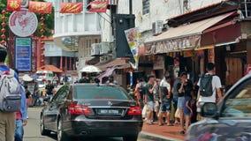 La calle de Jonker es la calle del centro de Chinatown en Malaca, Malasia almacen de metraje de vídeo