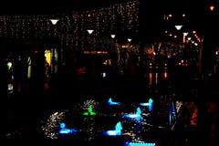 La calle de la noche en la ciudad se adorna con una guirnalda luminosa y una fuente con la iluminación Decoración de la ciudad en foto de archivo libre de regalías