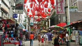La calle de Petaling es un Chinatown que est? situado en Kuala Lumpur, Malasia almacen de video