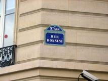 La calle de Rossini es un camino público situado en el 9no arrondissement de París Foto de archivo