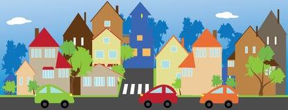 La calle de una pequeña ciudad stock de ilustración