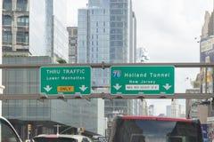 La calle del túnel de Holanda firma adentro Manhattan, New York City foto de archivo
