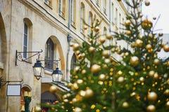 La calle en París adornó con la Navidad Foto de archivo libre de regalías