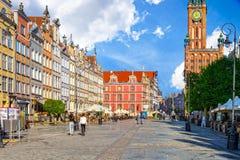 La calle larga del carril en Gdansk Foto de archivo libre de regalías
