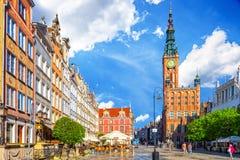 La calle larga del carril en Gdansk Fotografía de archivo