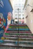La calle más corta de París--DES Degres de la ruda Foto de archivo libre de regalías