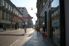 La calle principal Ilica, Croacia, Europa, 2015 de Zagreb Fotografía de archivo libre de regalías