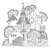 La calle vieja de la ciudad de la ciudad se dirige bosquejo stock de ilustración