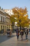 La calle vieja Skadarlija en Belgrado, Serbia, gente, árboles amarillos del otoño Imagenes de archivo