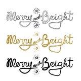 La calligrafia del nuovo anno e di Natale esprime allegro e luminoso Iscrizione moderna per le carte, i manifesti, le magliette,  illustrazione di stock