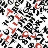 La calligrafia dell'acquerello dell'alfabeto di ABC segna l'illustrazione con lettere senza cuciture di vettore del modello Fotografie Stock Libere da Diritti