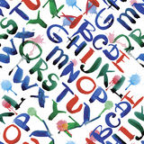 La calligrafia dell'acquerello dell'alfabeto di ABC segna l'illustrazione con lettere senza cuciture di vettore del modello Fotografie Stock