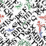 La calligrafia dell'acquerello dell'alfabeto di ABC segna l'illustrazione con lettere senza cuciture di vettore del modello royalty illustrazione gratis