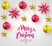 La calligraphie de Joyeux Noël avec 3D simple différent a coloré des boules de Noël Photos libres de droits