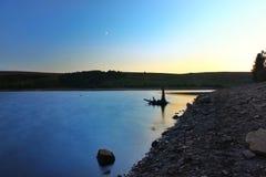 La calma innaffia il bacino idrico di Langsett fotografie stock