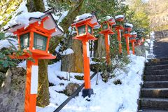 La calzada en invierno en Kuramadera Fotos de archivo