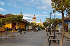 La calzada street from Granada view of the cathedral Royalty Free Stock Photos