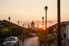 La Calzada street view at afternoon. Travel imagery for Nicaragua Stock Images