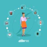 La camarera sostiene una bandeja con las tazas de café Ejemplo del vector del concepto del café en diseño plano del estilo Iconos libre illustration
