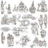 La Cambogia - illustrazioni disegnate a mano Pacchetto di Frehand Fotografie Stock Libere da Diritti