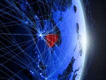 La Cambogia su terra digitale blu blu fotografia stock