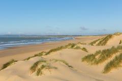 La cambrure ponce la plage sablonneuse East Sussex R-U photo stock